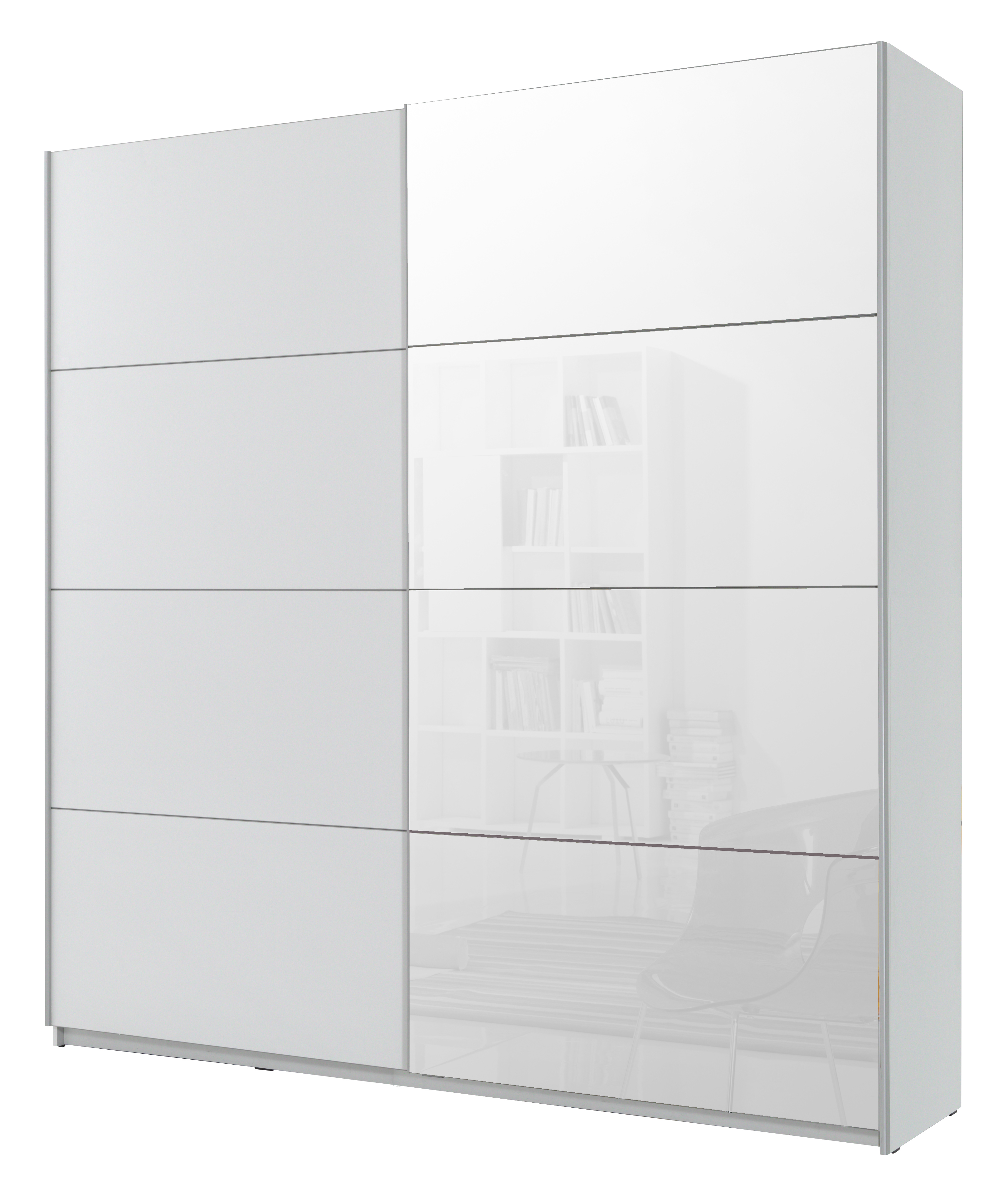 Šatní skříň - Benson - Typ 57 (bílá + zrcadlo)